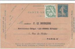 PO7102# CARTE-LETTERE - LE GRANDS VOYAGES Agence F.Le Bourgeois - Paris 1926 Affr. 5 Cent. - Storia Postale