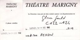 Hommage à Glenn Gould Au Théâtre MARIGNY - Invitation Le Lundi 14 Décembre 1992 - Tickets De Concerts
