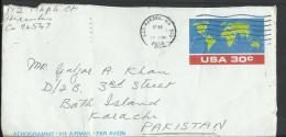 USA Aerogramme 1984 World Map To Pakistan - Altri
