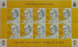 CROATIA - Sheet 2014 - Canonisation Of Two Popes: John Paul II And John XXIII - Croatie