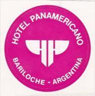 ARGENTINA BARILOCHE HOTEL PANAMERICANO VINTAGE LUGGAGE LABEL