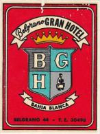 ARGENTINA BAHIA BLANCA BELGRANO GRAND HOTEL VINTAGE LUGGAGE LABE