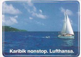 LUFTHANSA CARIBBEAN NONSTOP VINTAGE LUGGAGE LABEL - Baggage Labels & Tags
