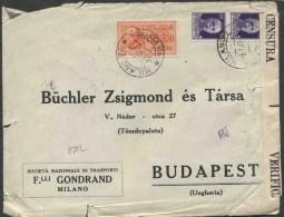 1942 Italia, L'ettera Per L'Ungheria Con Lire 2,50 Espresso - 1900-44 Victor Emmanuel III