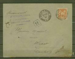 FRANCE  N° 94  Obl.  S/Lettre Entiére Recommandée - 1876-1898 Sage (Type II)