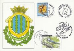 ANDORRA 2014 - SPECIAL CARD BIRD / OISEAU - TINTIPELLA (CYANISTES CAERULEUS ON CARD OF ANDORRA LA VELLA STAMP OF 0,66 € - Französisch Andorra