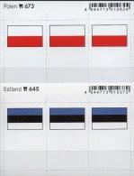 2x3 In Farbe Flaggen-Sticker Polen+Estland 4€ Kennzeichnung Von Alben Karten Sammlung LINDNER 645+673 Flags Eesti Polska - Unclassified