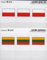 2x3 In Farbe Flaggen-Sticker Polen+Litauen 4€ Kennzeichnung Alben Karten Sammlung LINDNER 659+673 Flags Lithuiana Polska - Unclassified