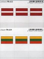2x3 In Farbe Flaggen-Sticker LITHUIANA+LATVIJA 4€ Kennzeichnung Alben Karten Sammlungen LINDNER 653+659 Litauen Lettland - Andere Sammlungen