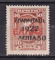 "GREECE 1923 Hellas#417 ""Revolution 1922"" Overprint On Crete Stamps, MH - Nuovi"