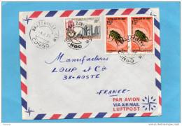 MARCOPHILIE-lettre-Congo- Pour Françecad -1971-3stamp N°273insect-polyphenus+23 9 Cimenterie Loutete - Congo - Brazzaville