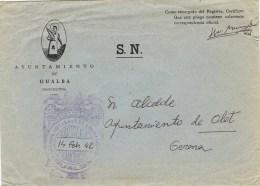 8153. Carta GUALBA (barcelona) 1942. Franquicia Ayuntamiento - 1931-50 Lettres
