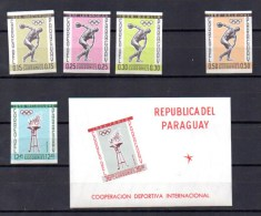 Paraguay 1962, Jeux Olympiques, Entre Mi 1111 Et 1116** + BK 29**, Cote 280 DM, - Summer 1964: Tokyo