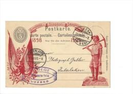 9336 - RARE Simplon 1905 Avec Impression Rouge  Luzern 25.07.1905 (cote 600 CHF) - Entiers Postaux