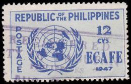 Philippines Scott # 518, 12¢ Deep Blue & Pale Blue (1947) UN Emblem, Used - Philippines