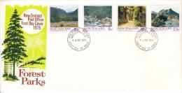 New Zealand FDC Scott #577-#580 Set Of 4 Forest Parks - Lake Summer, NW Nelson, Kaweka, Coromandel - FDC