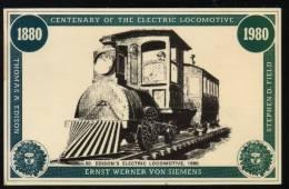 GB RAILWAY POSTCARD 1830-1980 ANNIVERSARY COLLECTION NO 50 OF 64 EDISON´S ELECTRIC LOCOMOTIVE 1880 SIEMENS Trains - Trains