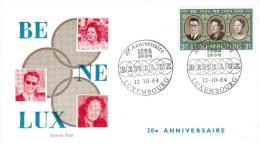 LUSSEMBURGO, LUXEMBOURG 1964 -FDC 20e ANNIVERSAIRE BENELUX 12-10-1964 - FDC
