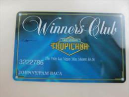 Las Vegas Tropicana Winners Club - Casino Cards