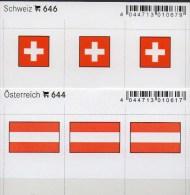 2x3 In Farbe Flaggen-Sticker Österreich+ Schweiz 4€ Kennzeichnung Alben Buch Sammlung LINDNER # 646+644 Austria Helvetia - Material Y Accesorios