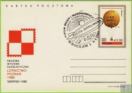 Voyo POLAND PC AVIATION  CP764 1980  Stamped ZEPPELIN POST - Entiers Postaux