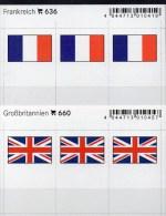 2x3 In Farbe Flaggen-Sticker Frankreich+UK 4€ Kennzeichnung An Alben Karten Sammlung LINDNER 636+660 Flag FRANCE Britain - Cartes De Stockage