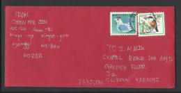 Korea Airmail, Bird King Fisher 80w,  Duck 44w, To Pakistan - Corée (...-1945)