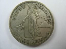 PHILPPINES 50 CENTVOS 1908 S   SILVER  COIN LOT 19  NUM 17 - Philippines