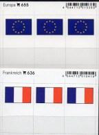 2x3 In Farbe Flaggen-Sticker Frankreich+EU 4€ Kennzeichnung Alben Karten Sammlungen LINDNER 636+655 Flags Of FRANCE CEPT - Cartes De Stockage