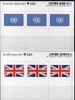 2x3 In Farbe Flaggen-Sticker Großbritannien+UNO 4€ Kennzeichnung Von Alben Karten Sammlungn LINDNER 660+656 Flags UK ONU - Cartes De Stockage