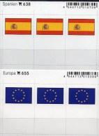2x3 In Farbe Flaggen-Sticker Spanien+EUROPA 4€ Kennzeichnung An Alben Karten Sammlungen LINDNER 638+655 Flag Espana CEPT - Cartes De Stockage