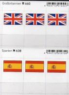 2x3 In Farbe Flaggen-Sticker Spanien+England 4€ Kennzeichnung An Alben Karten Sammlungen LINDNER 638+660 Flags Espana UK - Cartes De Stockage