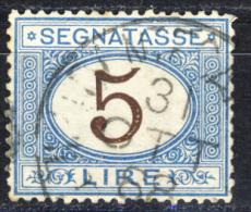 Segnatasse 1° Emissione - 1870/74 - 5 Lire Azzurro E Bruno  (Sassone ST13) - Taxe