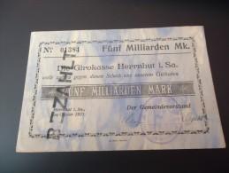 DEUTSCHLAND   HERRNHUT,     5 MILLIARDEN MARK, OKTOBER 1923,  SEHR SEHR SELTEN - [11] Local Banknote Issues