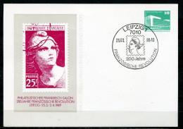 """DDR,GDR 1989 Privatganzsache""""Phila Salon Frankreich """" Mit SST""""Leipzig 1-200 Jahre Französische Revolution """" 1 PGS Used - Révolution Française"""
