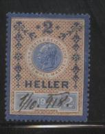 AUSTRIA KAISER FRANZ JOZEF I 1910 2 HELLER BLUE & BROWN-VIOLET NORMAL PAPER REVENUE BAREFOOT 470 - Fiscaux