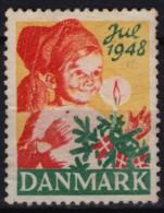 Christmas Tree / Candle / Christmas - JUL - LABEL / CINDERELLA - 1948 Denmark - Used - Christmas