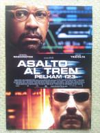 Folleto De Mano. Película Asalto Al Tren Pelham 1,2,3. Denzel Washington. John Travolta. Estados Unidos. 2009 - Cinemania