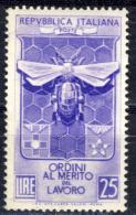 Merito Del Lavoro - 1953 - 25 Lire Violetto (Sassone 708) MNH** - 6. 1946-.. Repubblica
