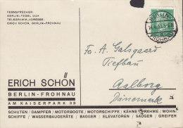 Germany ERICH SCHÖN, BERLIN-FROHNAU 1930 Card Karte To AALBORG Denmark Hindenburg Stamp (2 Scans) - Deutschland