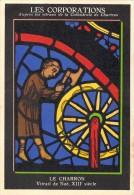 LES CORPORATIONS D´après Vitraux Cathédrale CHARTRES   Le CHARRON (Pub ASPIRINE SPECIA Carte De Pesée Métiers Art) - Vieux Papiers