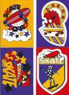 Sport  SKATE  SKATEBOARD -Lot De  4 Cartes Cpm AUTO COLLANT  - Voir Scan R/V Des 4 Cartes-*PRIX FIXE - Skateboard