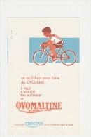 """Buvard Ancien """" Ovomaltine"""" Ce Qu'il Faut Pour Faire Du Cyclisme - Moto & Vélo"""