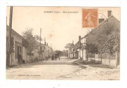 CPA : 18 -  Osmery ( Dun / Auron ) : Rue Principale - Animation - Maisons - Voiture - Attelage ... - Frankrijk