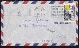 Afrique Equatoriale Francaise - Sur Lettre - N° 233 Obl. Brazzaville 1953 - A.E.F. (1936-1958)
