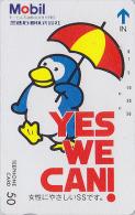 Télécarte Japon / 330-25842 - Oiseau MANCHOT & Parapluie / Essence MOBIL - PENGUIN Bird Japan Phonecard - PINGUIN - 2507 - Petrole