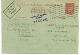 """PETAIN BORDEAUX Sur C.P. COMMERCIALE - CHAMBRE DE Cce PARIS 1942  """"HUILES CASTROL"""" SYNDICAT TAXIMETRES MARSEILLAIS  -d37 - Entiers Postaux"""