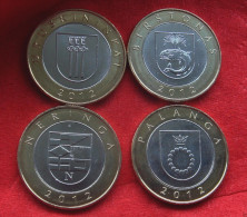 Lithuania 2012- 2 Litai Lithuanian Resorts Set Of 4 Coins BiMetal UNC From Mint Roll - Lituanie