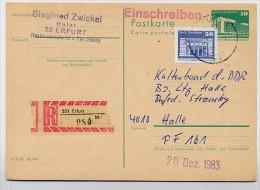 DDR P84 Postkarte EINSCHREIBEN Bedarfsgebraucht Erfurt-Halle 1983 - [6] Democratic Republic