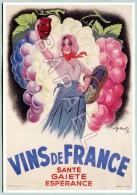 Affiche Sur Carte Postale - Vins De France (Galland 1937) (2) - Reclame